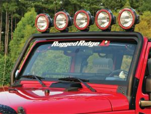 Textured Black Windshield Frame Light Bar for 2007-Up Wrangler JK by Rugged Ridge