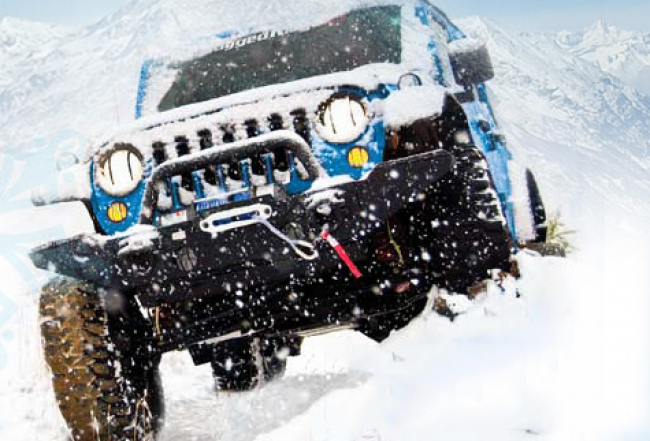 Wrangler Jeep JK in the snow