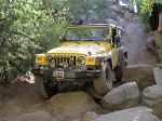 Jeep Wrangler in a rock garden