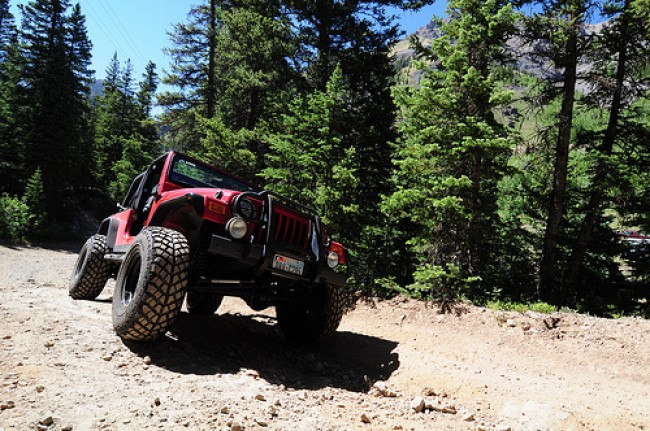 Jeep Wrangler Off-Roading in Colorado Woods